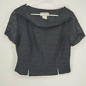 sharon young womens top linen blend size 12 lace